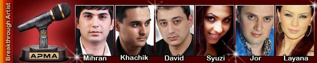 1st Armenian Pulse Music Awards Breakthrough Artist Nominees