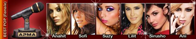 1st Armenian Pulse Music Awards Best Female Pop Artist Nominees