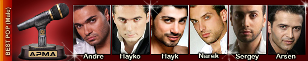 1st Armenian Pulse Music Awards Best Male Pop Artist Nominees