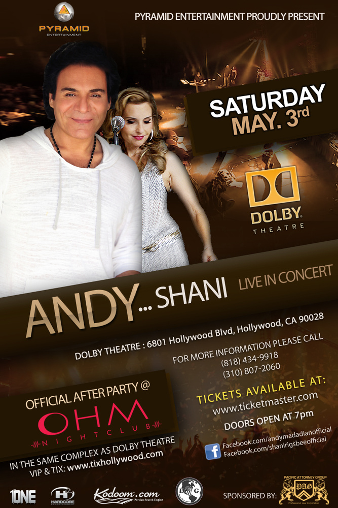Andy and Shani Live in Concert at the Dolby Theater May 3rd